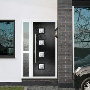 Black composite door with 4 glass glazing cassettes and chrome handle bar