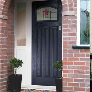 Blue composite front door with stained glass detail