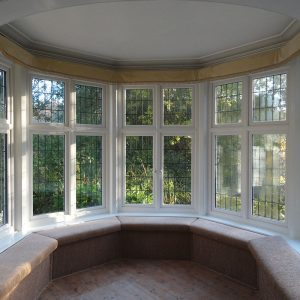 White uPVC bow window internal view