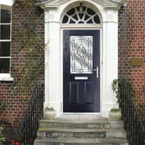 Composite door in blue with decorative glass panel