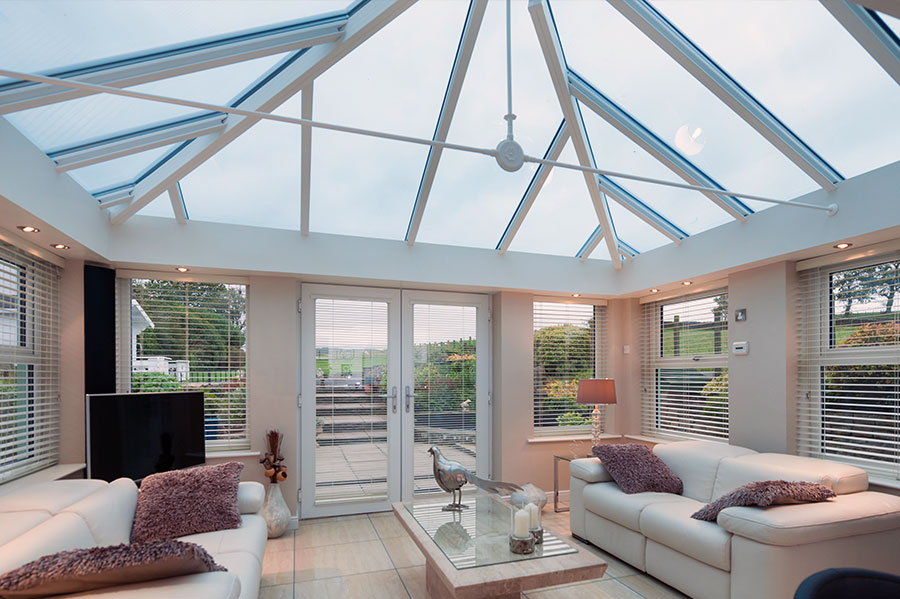 Conservatory with glazed roof