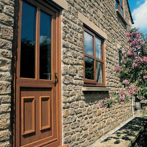 Golden oak effect uPVC front door bristol