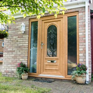 Light oak effect uPVC entrance door