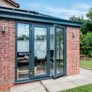 Grey uPVC french door