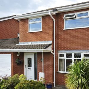 Roofline installation with PVCU gutter and fascias