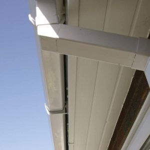 White PVCu soffit and gutter