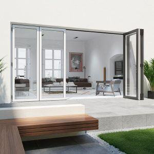 White aluminium bifold door open