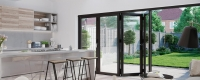 Black aluminium bifold door interior view