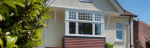 An external view of an installation of flush sash uPVC windows