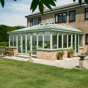 Traditional style glazed conservatory made with Chartwell green coloured PVCu