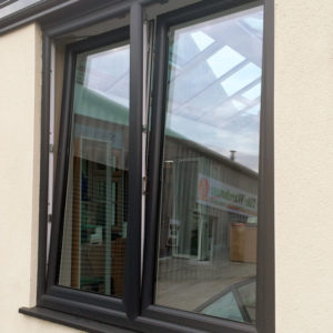 Grey PVCu double tilt and turn windows