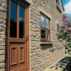Golden oak effect uPVC entrance door